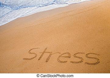 tensão, palavra, escrito, areia