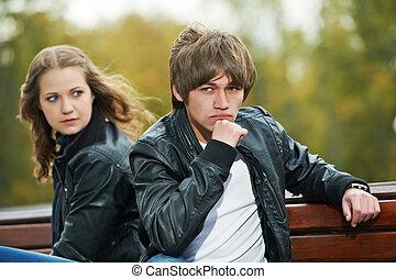 tensão, par, relacionamento, jovem