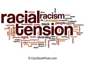 tensão, racial, palavra, nuvem