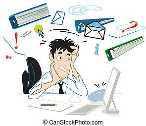 tensão, seu, escrivaninha