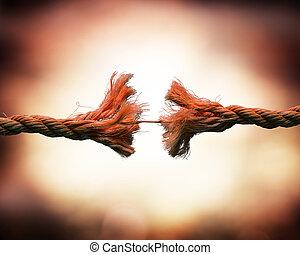 tensión, cuerda, -, roto, concepto