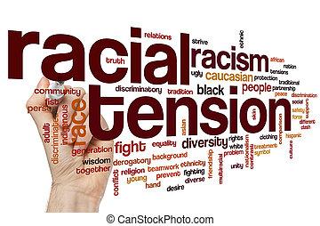 tensión, racial, palabra, nube