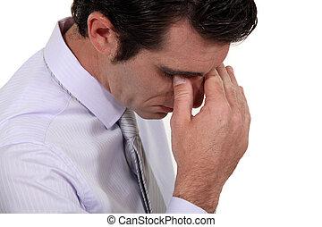 tensión, sufrimiento, hombre, dolor de cabeza