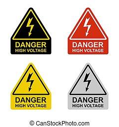 tension, élevé, blanc, hazard., ensemble, signes, arrière-plan.