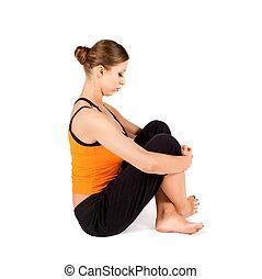 tension, étirage, cou, exercice, soulagement