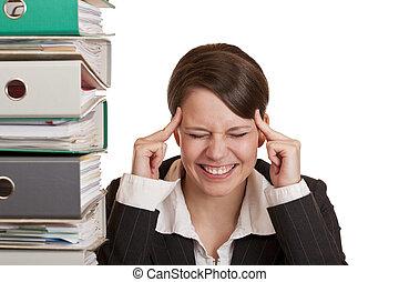tension, affaires femme, bureau, migraine, because, a