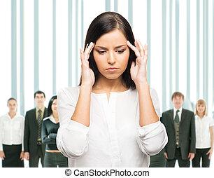 tension, affaires femme, fatigué, désordre, isolé, blanc