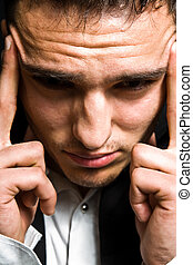 tension, concept, business, -, mal tête, homme