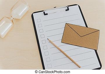 tension, concept, liste contrôle, miniature, inbox, email, sablier