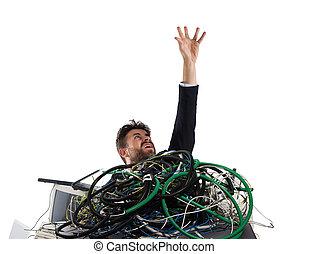 tension, concept, piégé, cables., surmenage, homme affaires