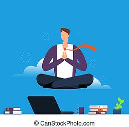tension, concept, yoga, bureau, lotus, sur, pose, bas, desk., vecteur, calme, homme, pendre, homme affaires, travail, éviter, meditation.