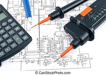 tension, diagramme, testeur, stylo, électrique, calculatrice