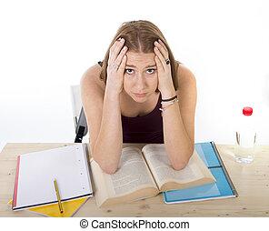 tension, examen, fatigué, étudier, université, inquiété, pression, étudiant université, essai, girl, sentiment