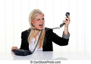 tension, femme, bureau