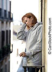 tension, femme, souffrance, séduisant, dehors, dépression, balcon