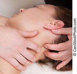 tension, femme, soulager, cou, elle, obtenir, point, pression, thérapeute, santé, masage