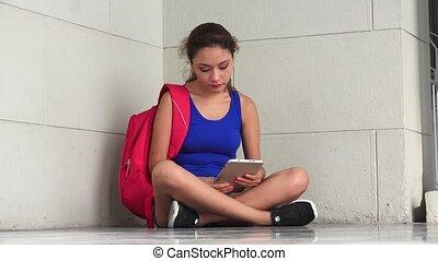 tension, femme, tablette, tristesse, étudiant université,...