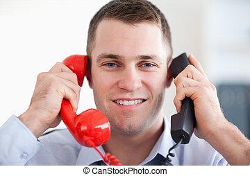 tension, fin, téléphone, maniement, sourire, haut