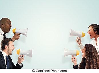 tension, hommes, businesspeople., crier, contre, femmes, concept