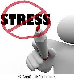 tension, inquiétude, dessine, non, réduire, entaille, stressant, homme