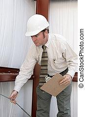 tension, inspecteur, construction, -, essai