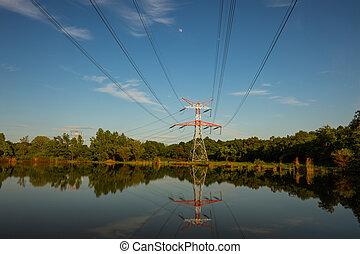 tension, nature, pylônes, élevé