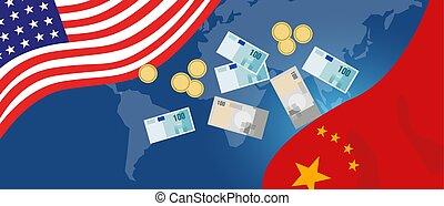 tension, ou, deux, nous, commercer, sérieux, commerce, déficit, entre, porcelaine, guerre, économie