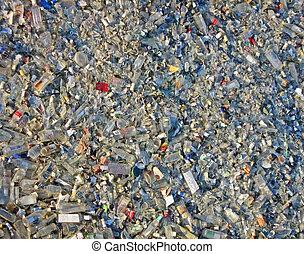 tension, pullution, environnement, verre, débris, tas