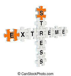 tension, puzzle, fond, blanc, extrême, 3d