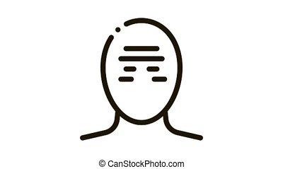tension, serrage, mal tête, bande, icône, tête, animation