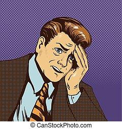 tension, sien, art, business, pensée, désordre, sur, illustration, triste, échec, vecteur, pop, homme affaires, situation, comique, homme, style., retro