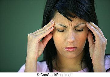 tension, souffrance, brunette, mal tête
