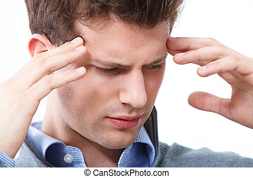 Tension - Portrait of young man having headache