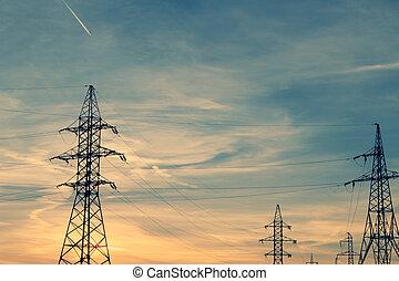 tension, tours électriques, élevé