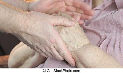 tension, vieux, coups, femme, temps, mains, homme