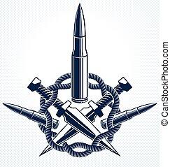 tensione, rivoluzione, emblema, concetto, o, caos, theme., gangster, guerra, vettore, pallottole, sociale, logotipo, criminale, anarchia, tatuaggio, stile