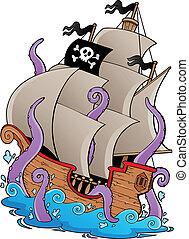 tentáculos, barco, viejo, pirata