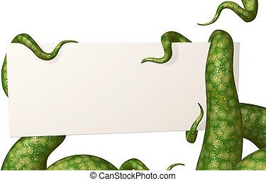 tentáculos, segurando, um, vazio, cartão