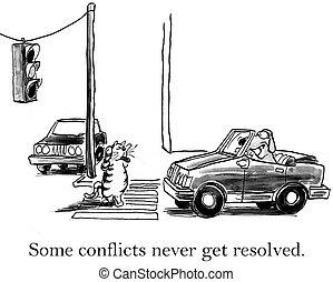 tenté, intersection, chien, chat