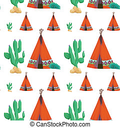 tent and cactus - illustration of a tent and cactus on a...