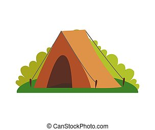 Tent and Greenery of Nature Vector Illustration