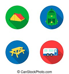Tent, backpack, table with a bench, trailer.Camping set collection icons in flat style raster,bitmap symbol stock illustration web.