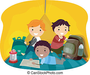 Tent Boys - Illustration of Little Boys Resting in a Tent