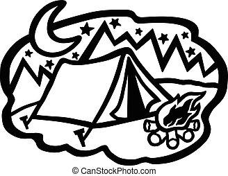 Cartoon Camping Tent Vector
