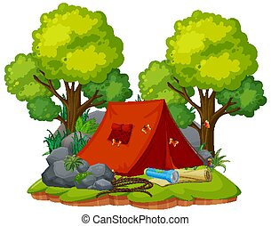 Tent camping in the forest on white background