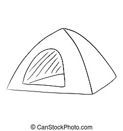 Tent Camping. Ink Pen. accomodation. house. mobile home -...
