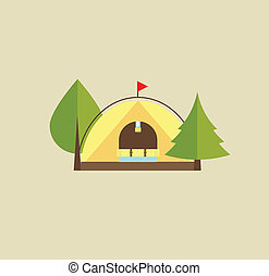 Tent camping park flat stlyle illustration vector
