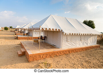 Tent camping site hotel in a desert - Tent camping site...