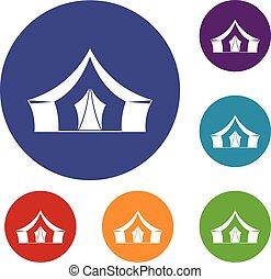 Tent, camping symbol icons set