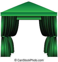 Awning for celebrations with fabric as the curtains. Vector illustration.